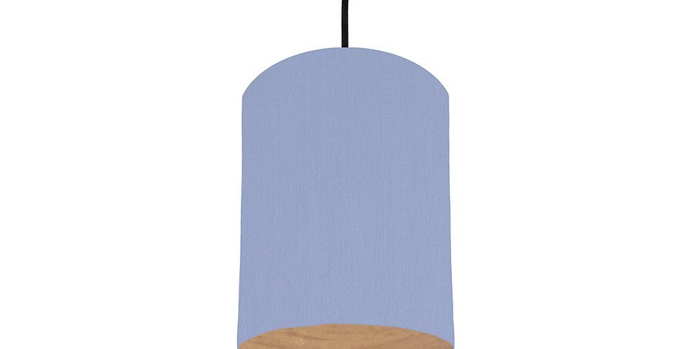 Sky Blue & Wood Lined Lampshade - 15cm Wide
