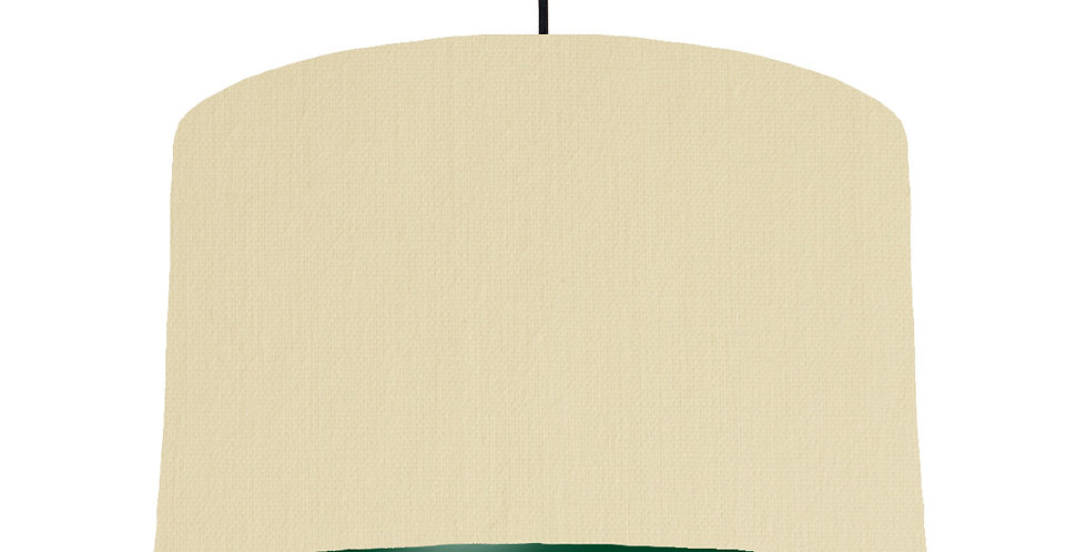 Natural & Forest Green Lampshade - 40cm Wide