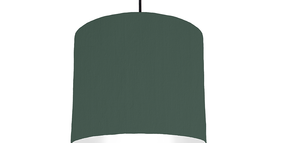 Bottle Green & White Lampshade - 25cm Wide