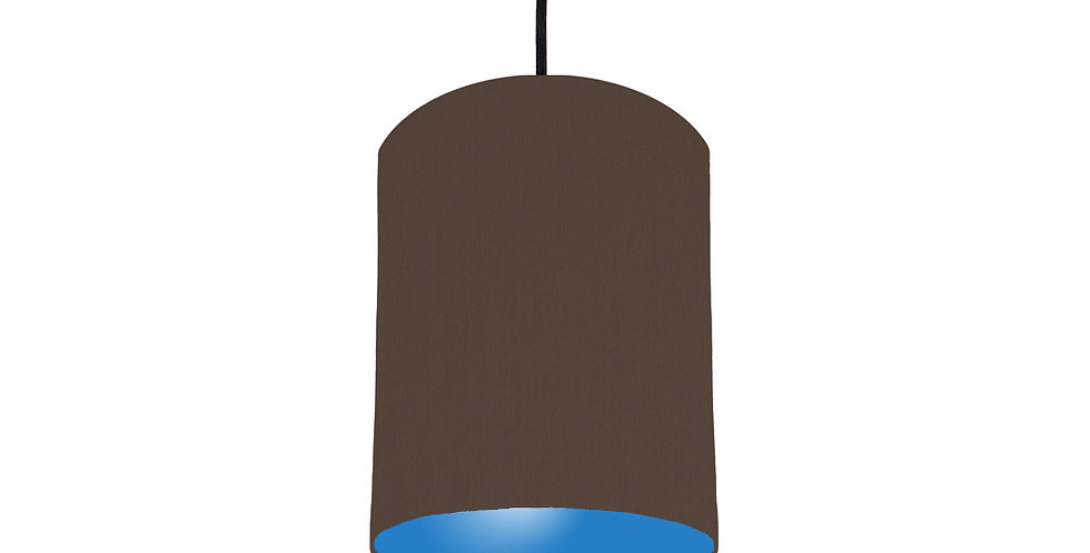 Brown & Bright Blue Lampshade - 15cm Wide