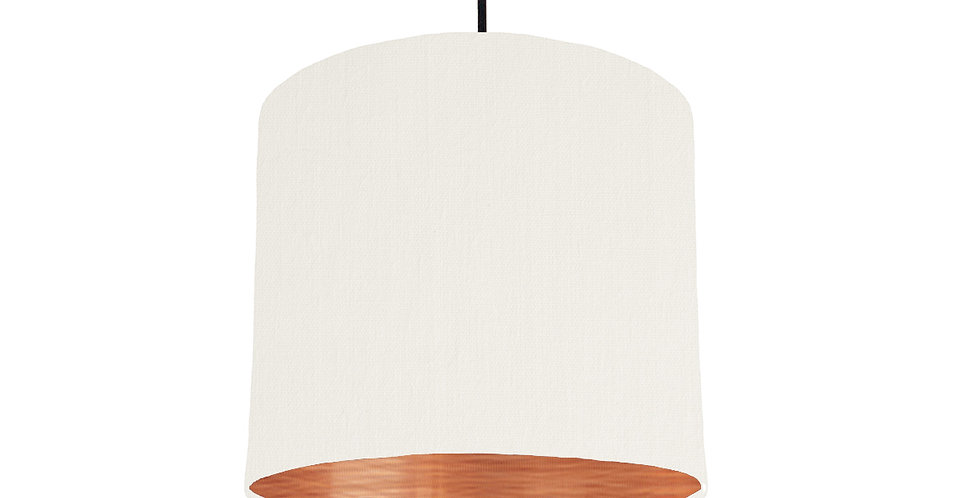 White & Brushed Copper Lampshade - 25cm Wide