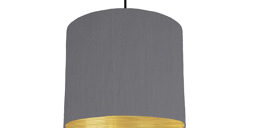 Dark Grey & Brushed Gold Lampshade - 25cm Wide