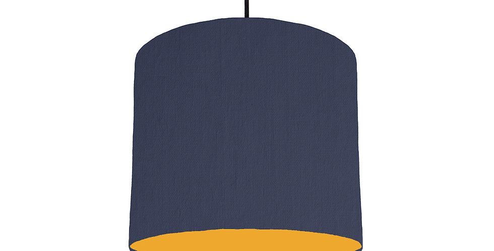 Navy Blue & Mustard Lampshade - 25cm Wide