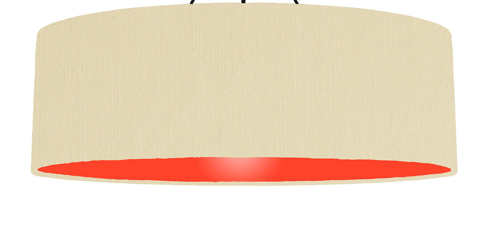 Natural & Poppy Red Lampshade - 100cm Wide