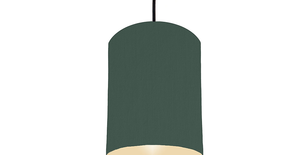 Bottle Green & Ivory Lampshade - 15cm Wide