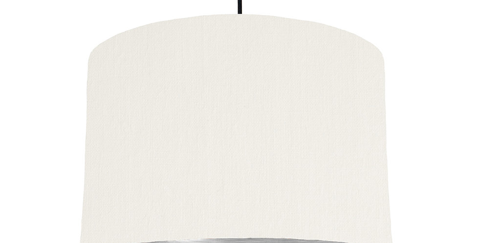 White & Brushed Silver Lampshade - 30cm Wide