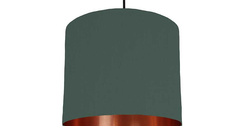 Bottle Green & Copper Mirrored Lampshade - 25cm Wide
