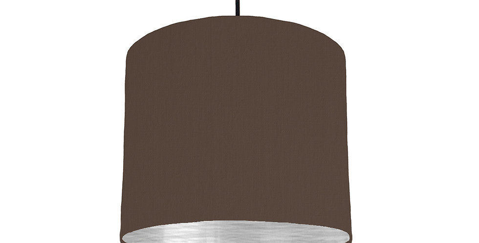 Brown & Brushed Silver Lampshade - 25cm Wide