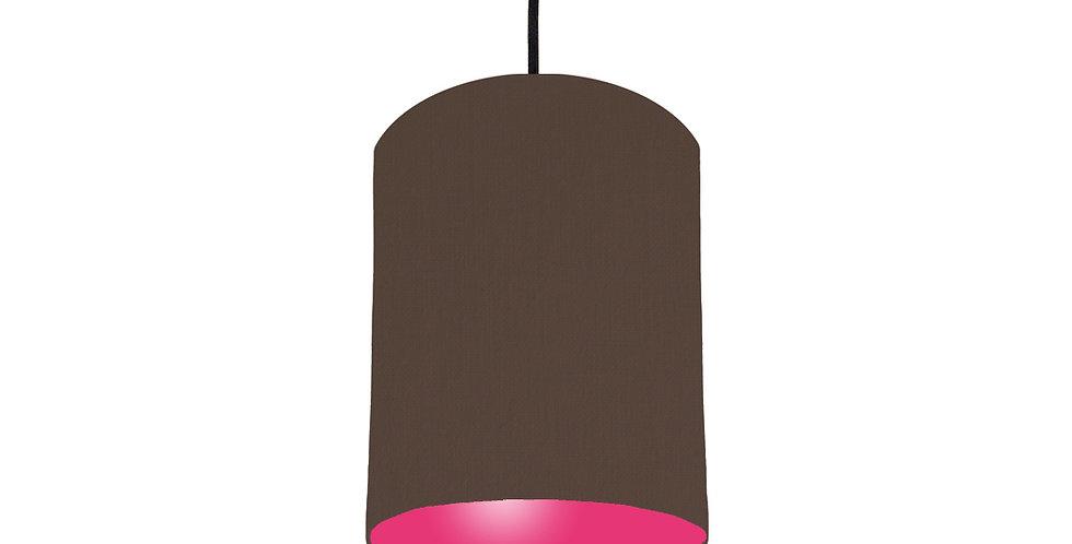 Brown & Magenta Pink Lampshade - 15cm Wide