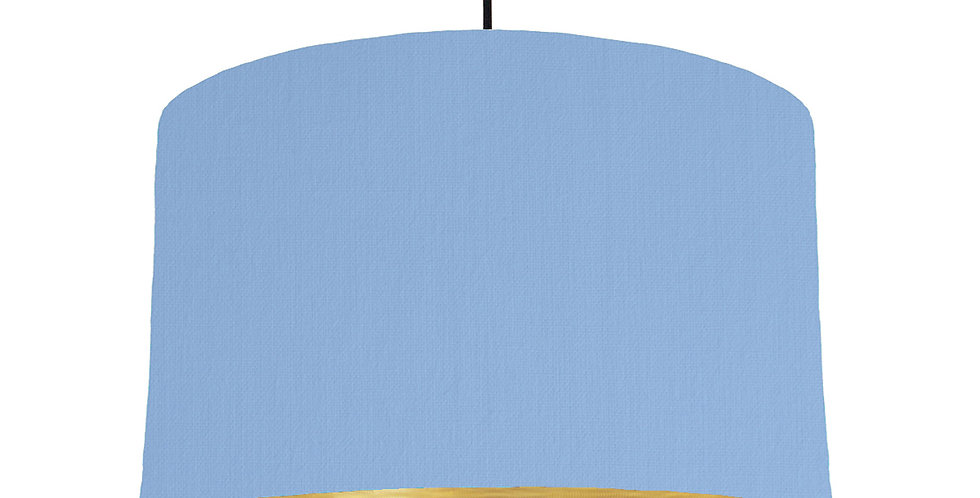 Sky Blue & Brushed Gold Lampshade - 40cm Wide