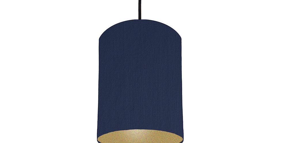 Navy Blue & Gold Matt Lampshade - 15cm Wide
