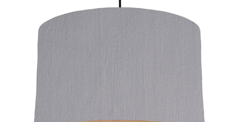Light Grey & Wooden Lined Lampshade - 40cm Wide