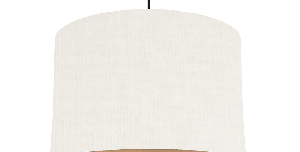 White & Wood Lined Lampshade - 30cm Wide