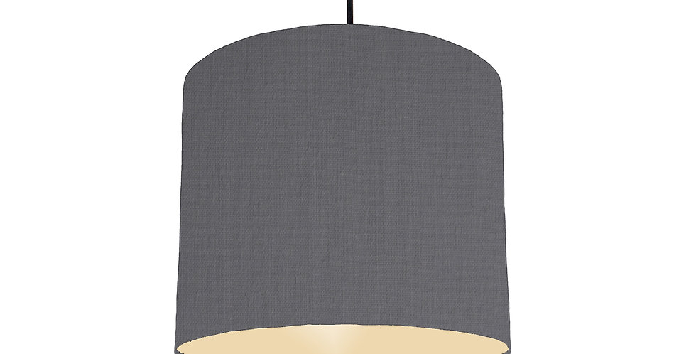 Dark Grey & Ivory Lampshade - 25cm Wide