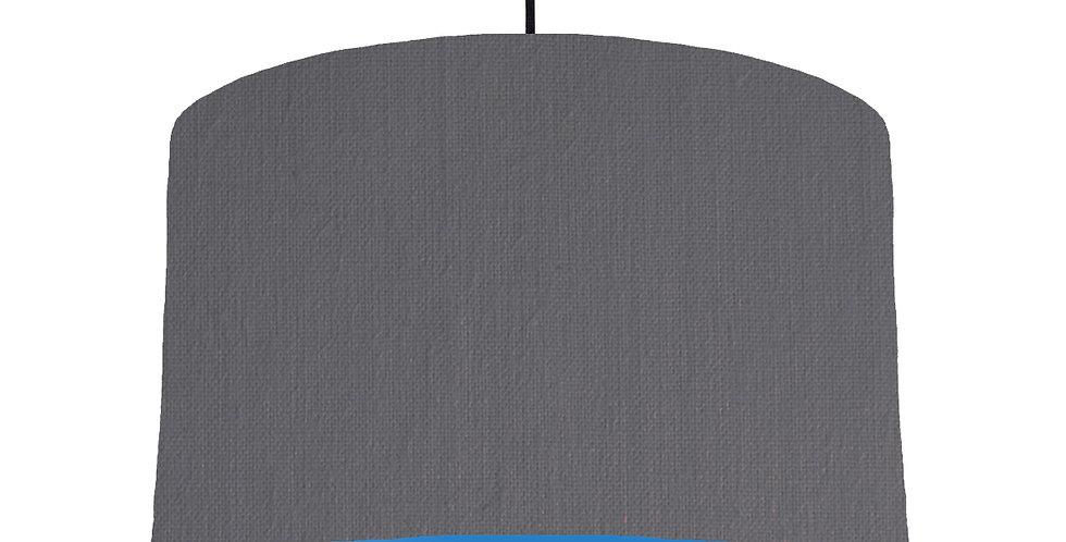Dark Grey & Bright Blue Lampshade - 40cm Wide