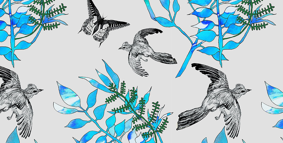 Botanical Bird Velvet Fabric - Grey
