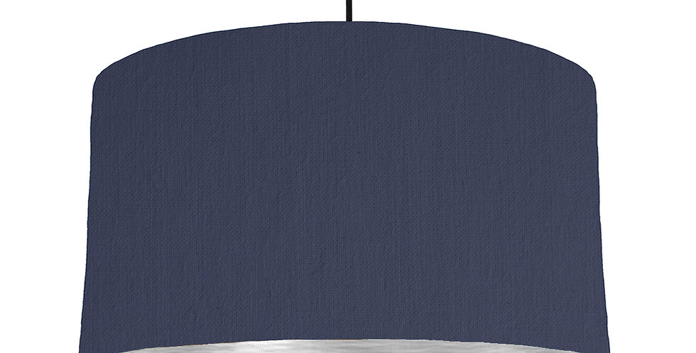 Navy & Brushed Silver Lampshade - 50cm Wide