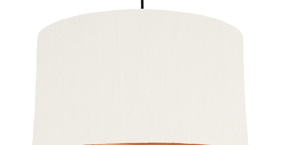 White & Brushed Copper Lampshade - 50cm Wide