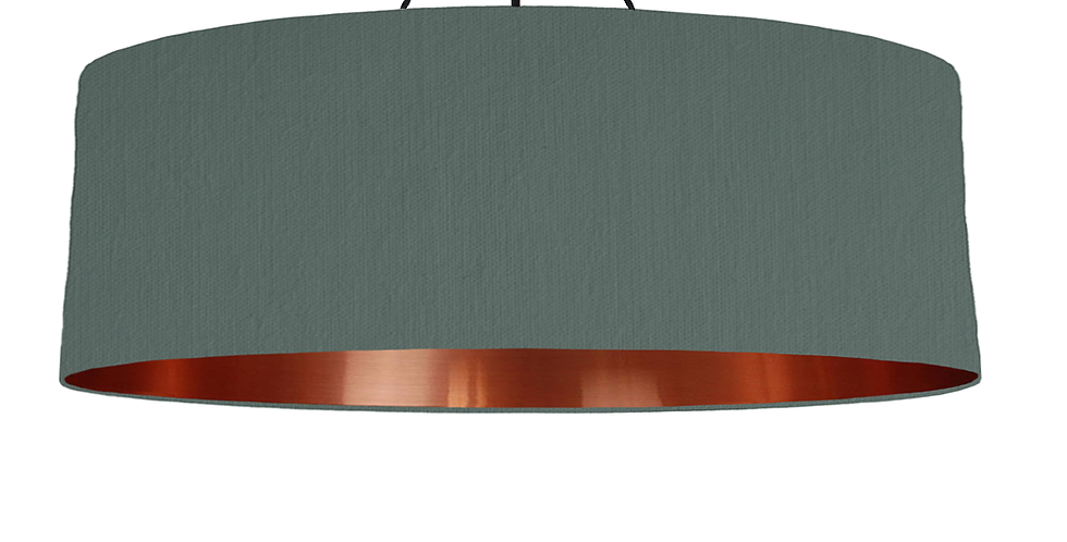 Bottle Green & Copper Mirrored Lampshade - 100cm Wide