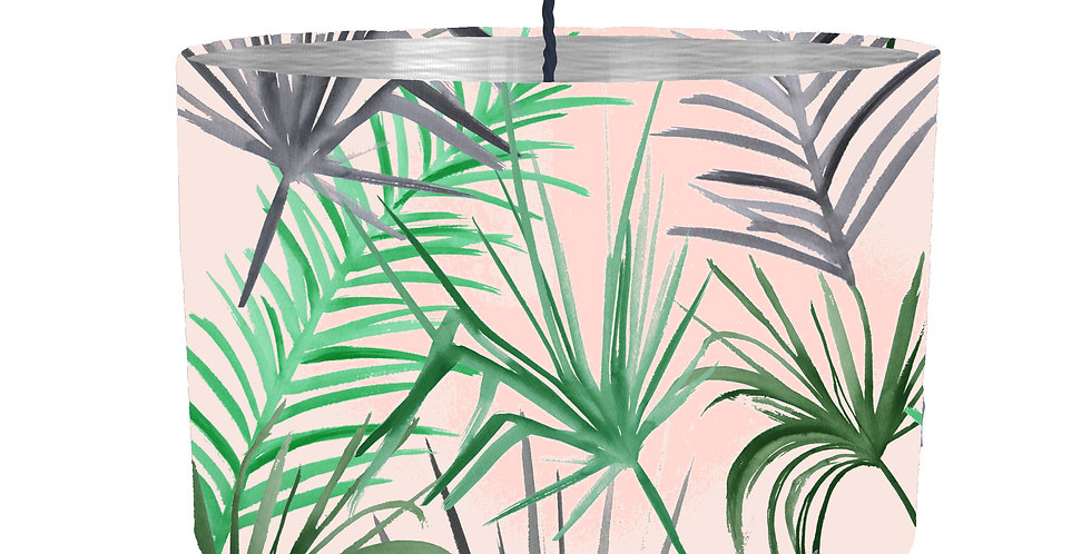 Tropical Leaf Lampshade (Pink) - Metallic Lining