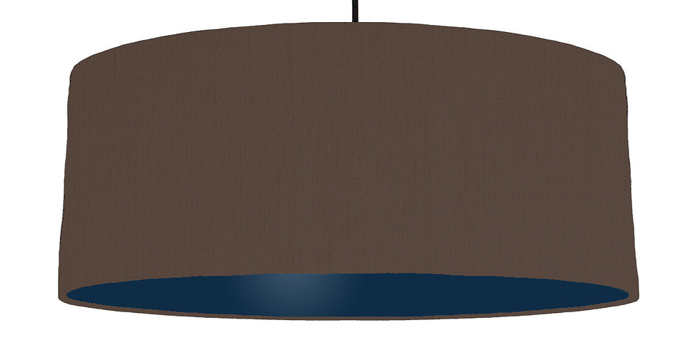 Brown & Navy Lampshade - 70cm Wide
