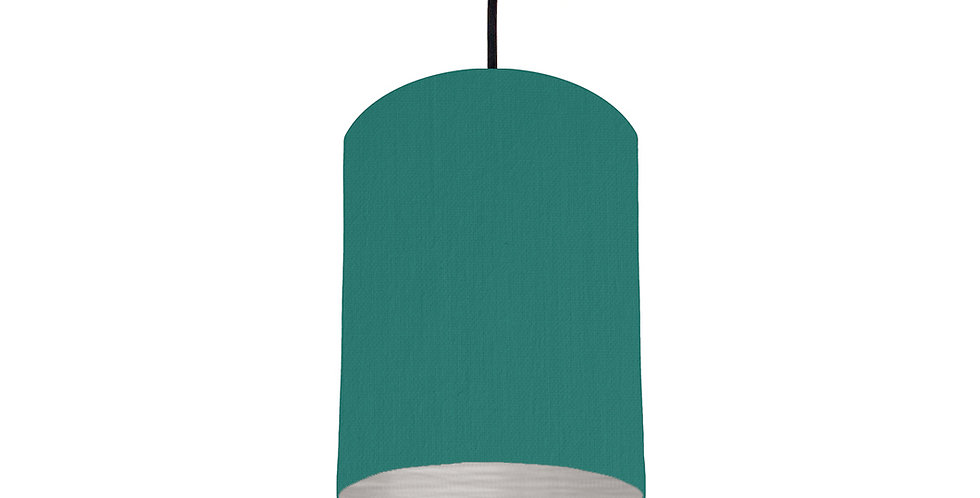 Jade Green & Brushed Silver Lampshade - 15cm Wide