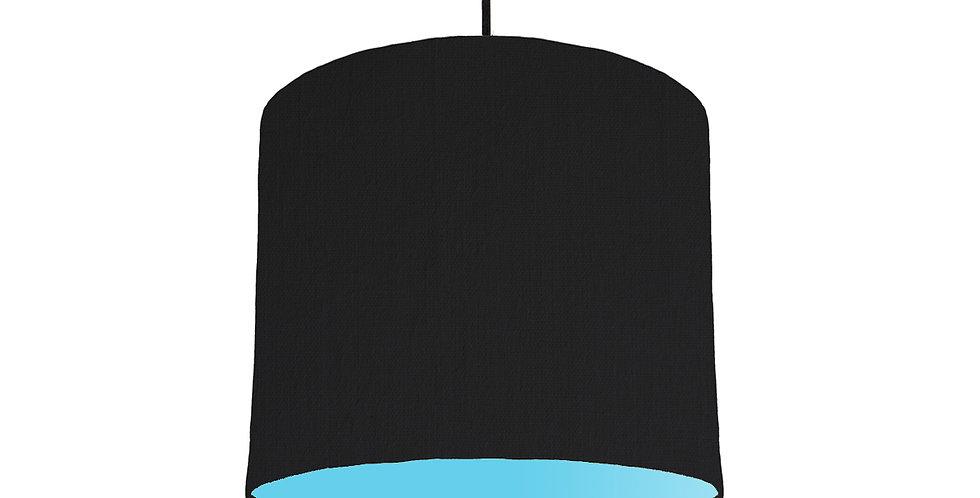 Black & Light Blue Lampshade - 25cm Wide