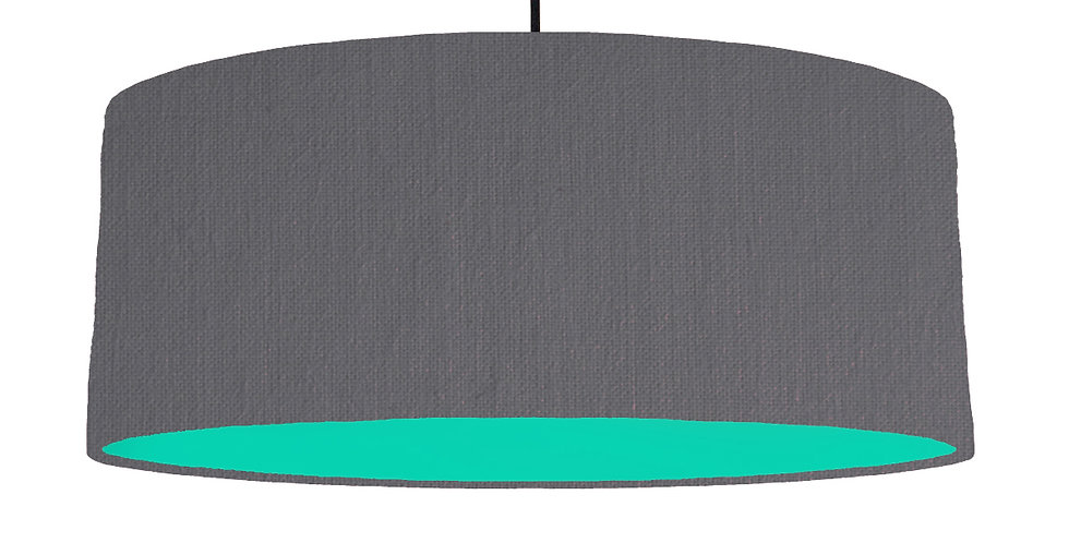 Dark Grey & Turquoise Lampshade - 70cm Wide