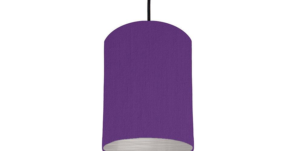 Violet & Brushed Silver Lampshade - 15cm Wide