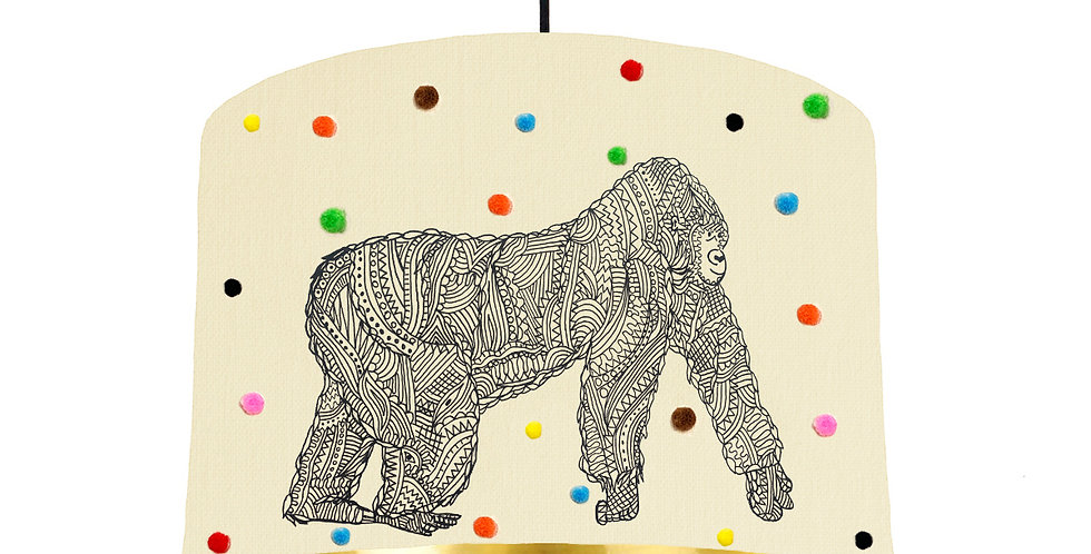 George The Gorilla Pom Pom Lampshade - Metallic Lining