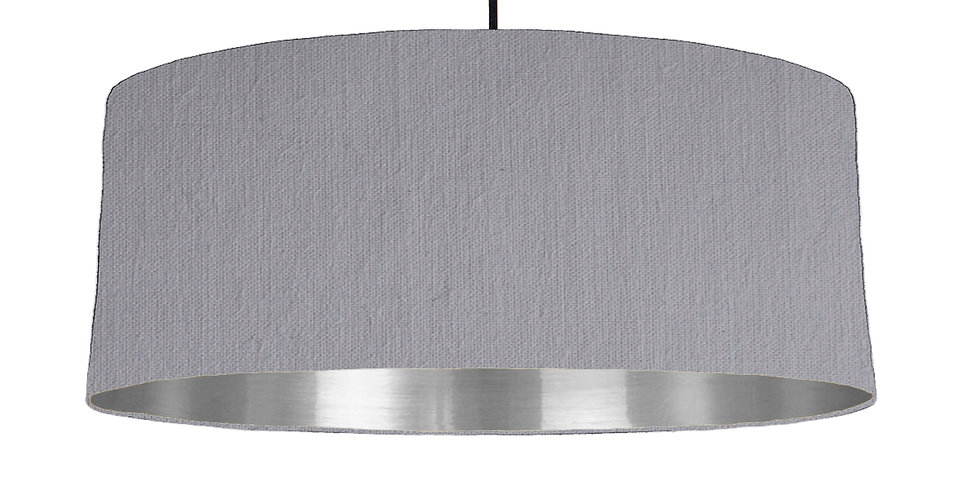 Light Grey & Silver Mirrored Lampshade - 70cm Wide