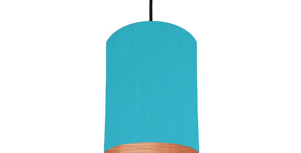 Turquoise & Brushed Copper Lampshade - 15cm Wide