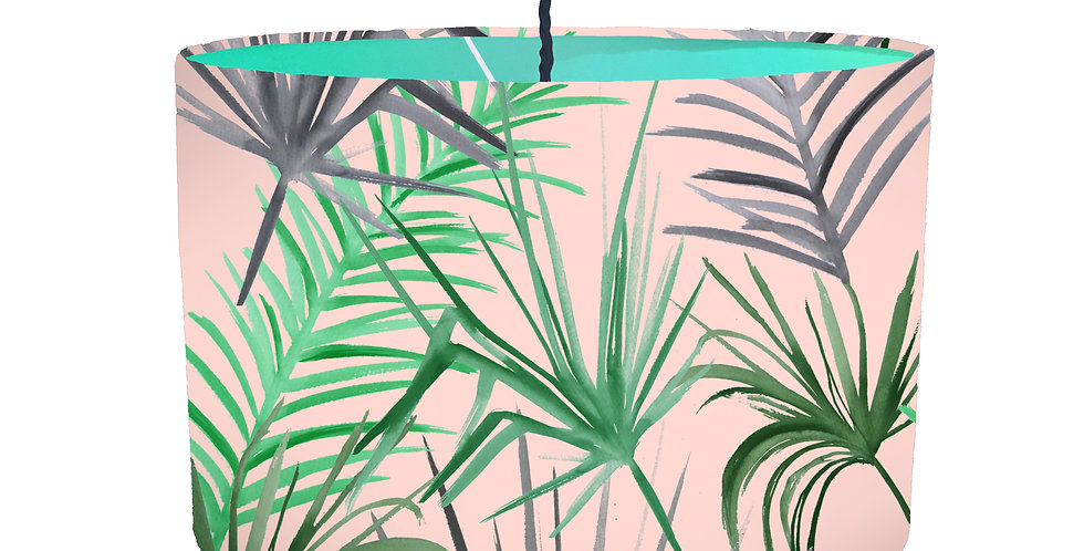 Tropical Leaf Lampshade (Pink) - Colour Lining
