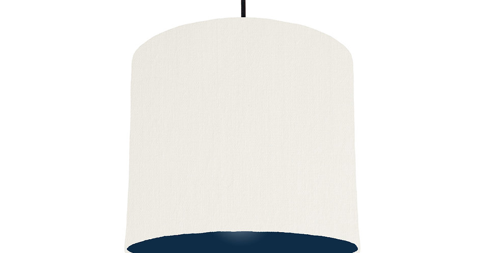 White & Navy Lampshade - 25cm Wide
