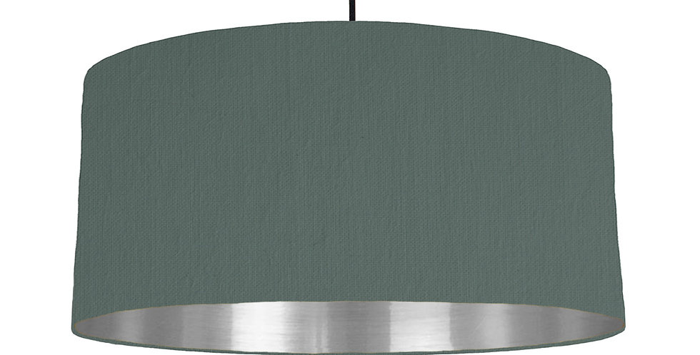 Bottle Green & Silver Mirrored Lampshade - 60cm Wide