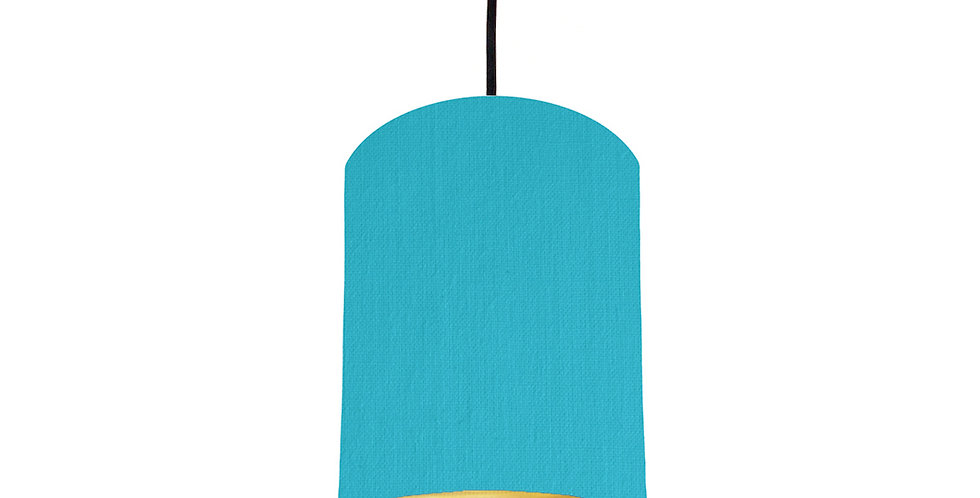 Turquoise & Brushed Gold Lampshade - 15cm Wide