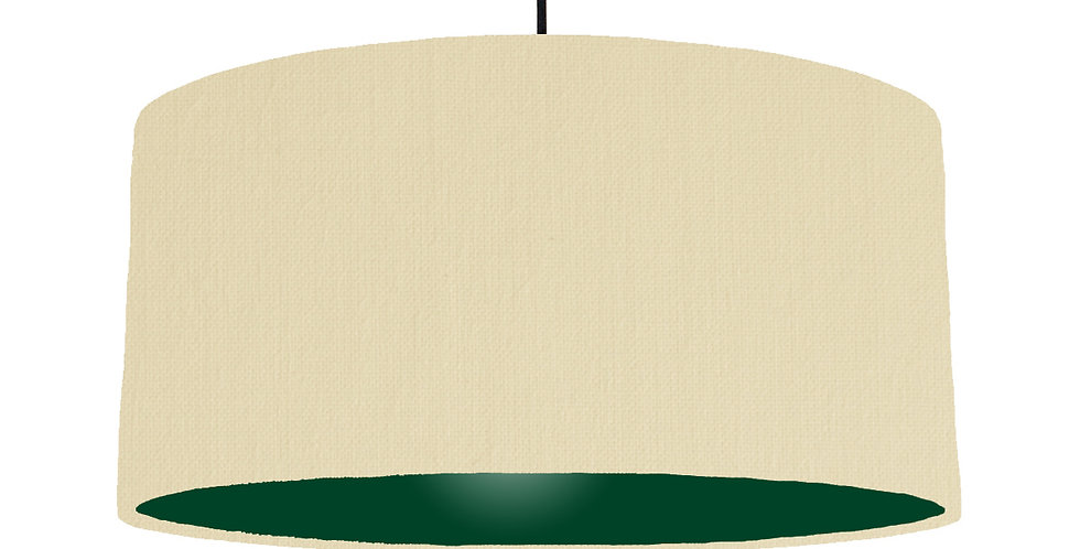 Natural & Forest Green Lampshade - 60cm Wide