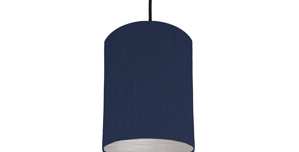 Navy Blue & Brushed Silver Lampshade - 15cm Wide
