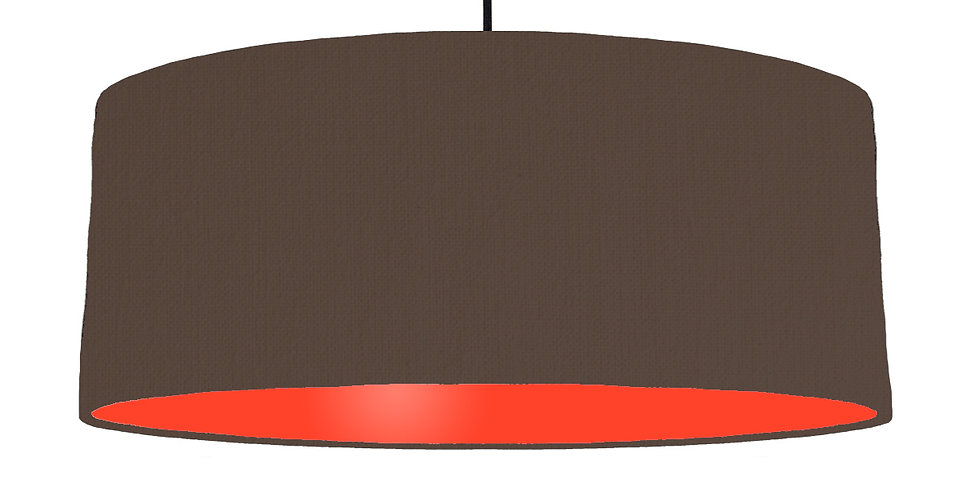 Brown & Poppy Red Lampshade - 70cm Wide