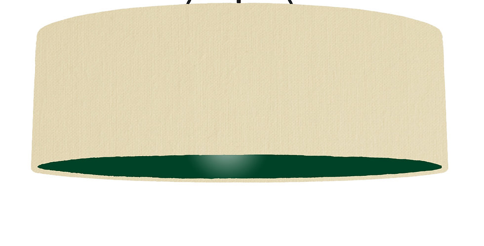 Natural & Forest Green Lampshade - 100cm Wide