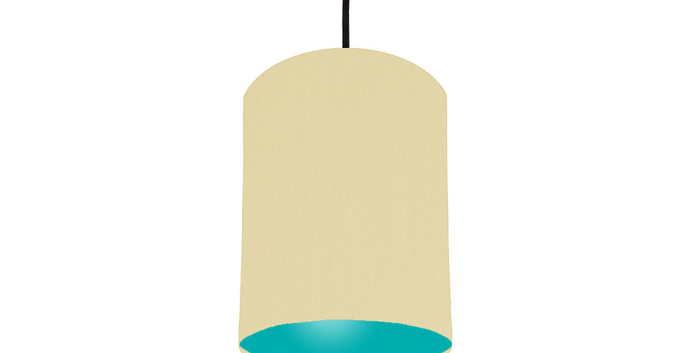 Natural & Turquoise Lampshade - 15cm Wide