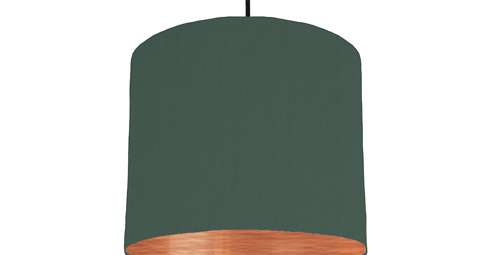 Bottle Green & Brushed Copper Lampshade - 25cm Wide