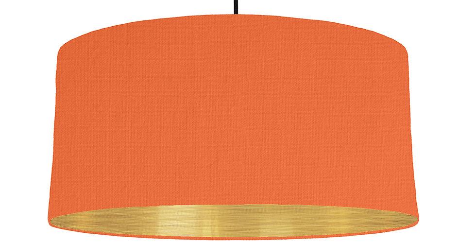 Orange & Brushed Gold Lampshade - 60cm Wide