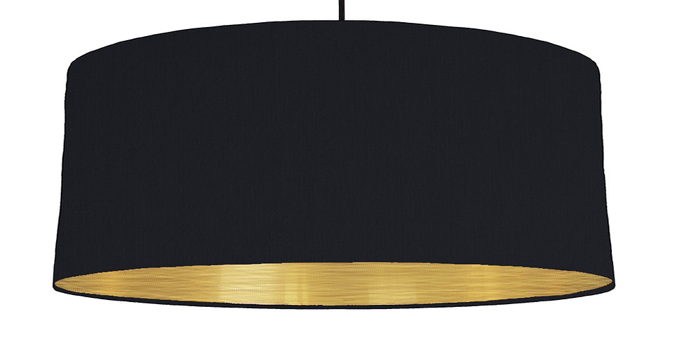 Black & Brushed Gold Lampshade - 70cm Wide