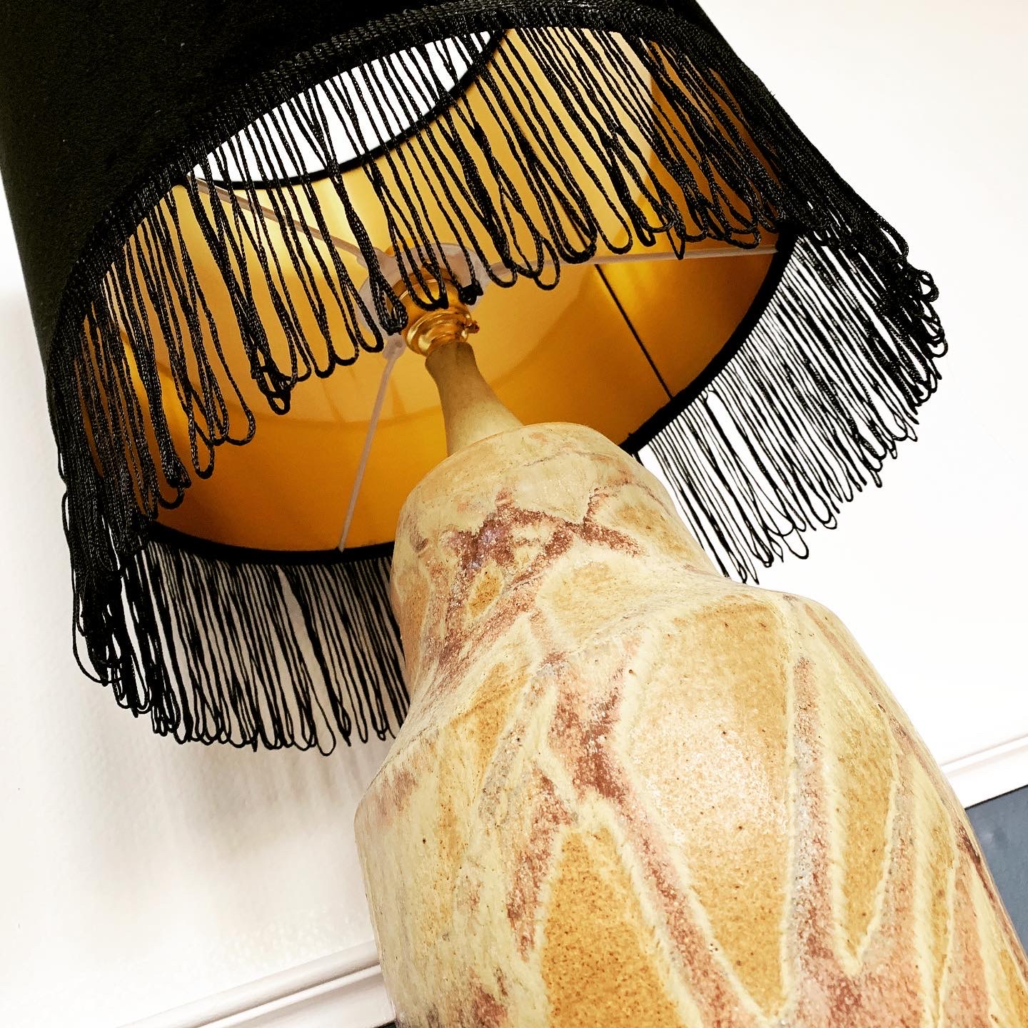 Black Velvet fringed lampshade