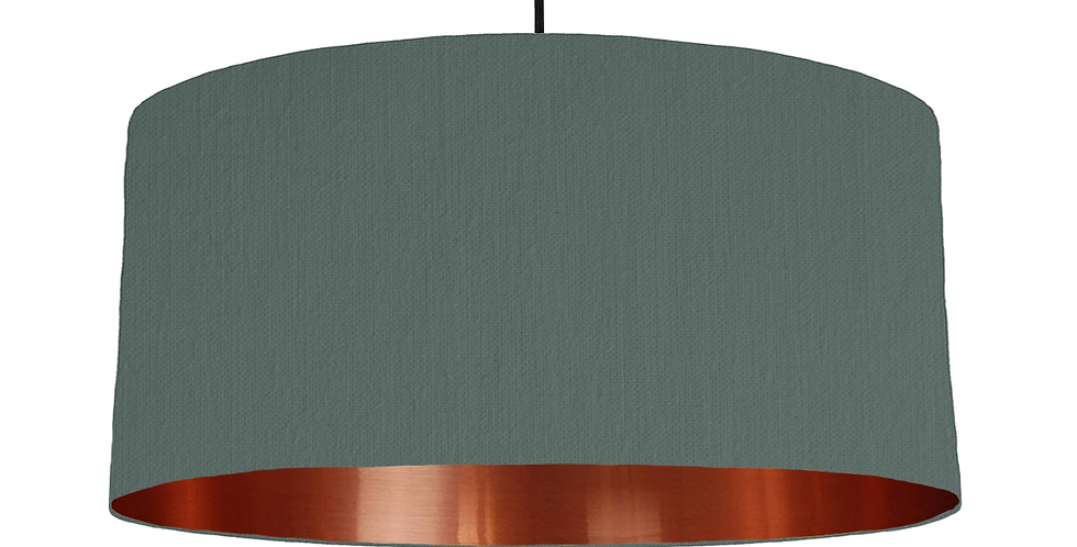 Bottle Green & Copper Mirrored Lampshade - 60cm Wide