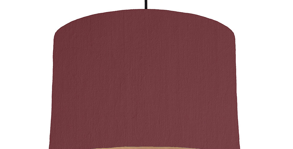 Wine Red & Wood Lined Lampshade - 30cm Wide