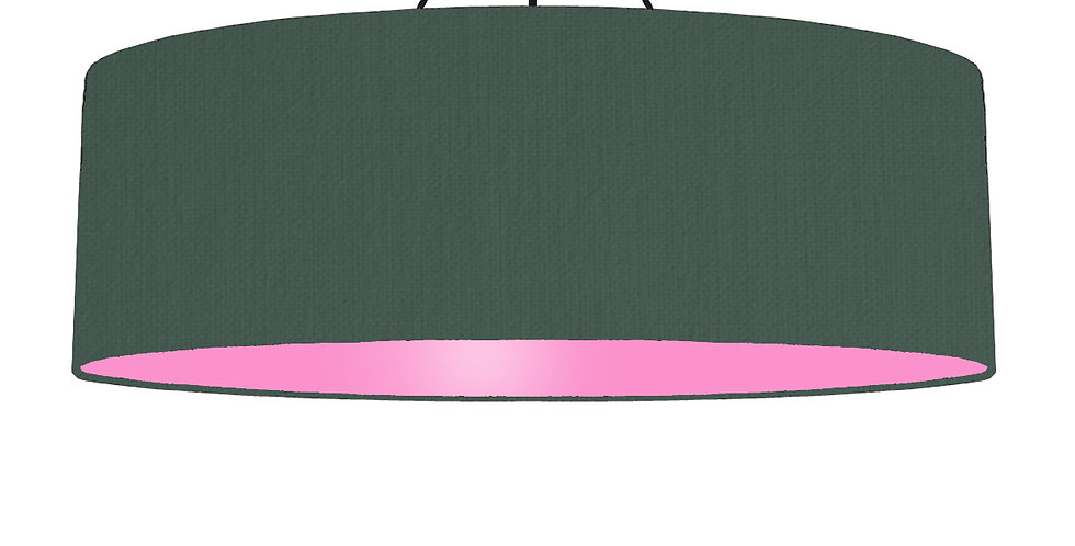 Bottle Green & Pink Lampshade - 100cm Wide