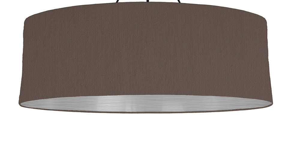 Brown & Brushed Silver Lampshade - 100cm Wide