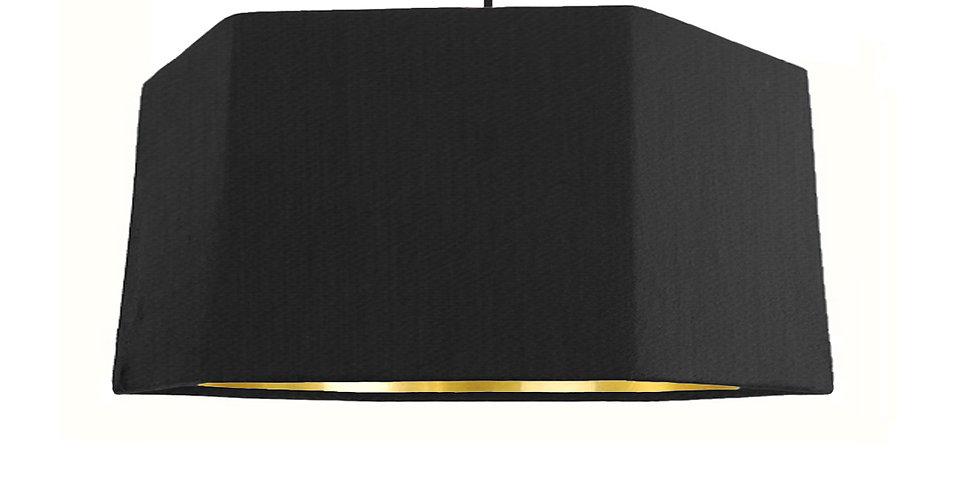 Black & Gold Mirror Hexagon Lampshade - 40cm Wide